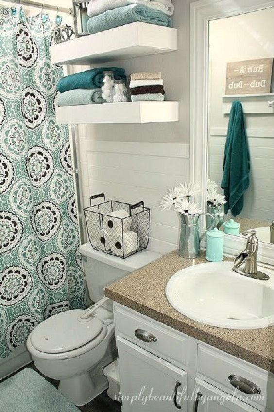 Apartment Bathroom Ideas: Use Curtain for Separation