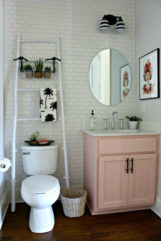 Apartment Bathroom Ideas: White Nice Ladder for Towel and Decoration