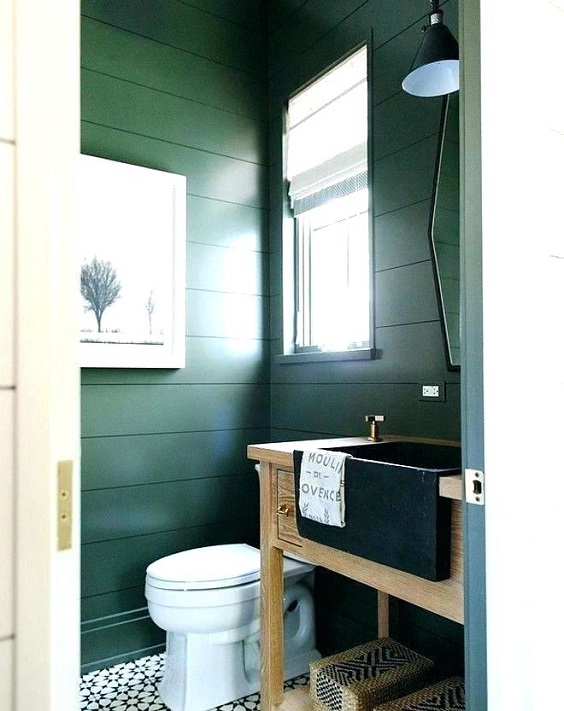 Bathroom Color Ideas: Dark Green for Bold Look