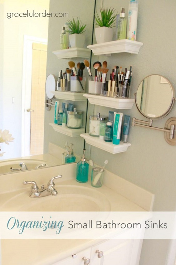 Bathroom Organization Ideas: Few Small White Shelves