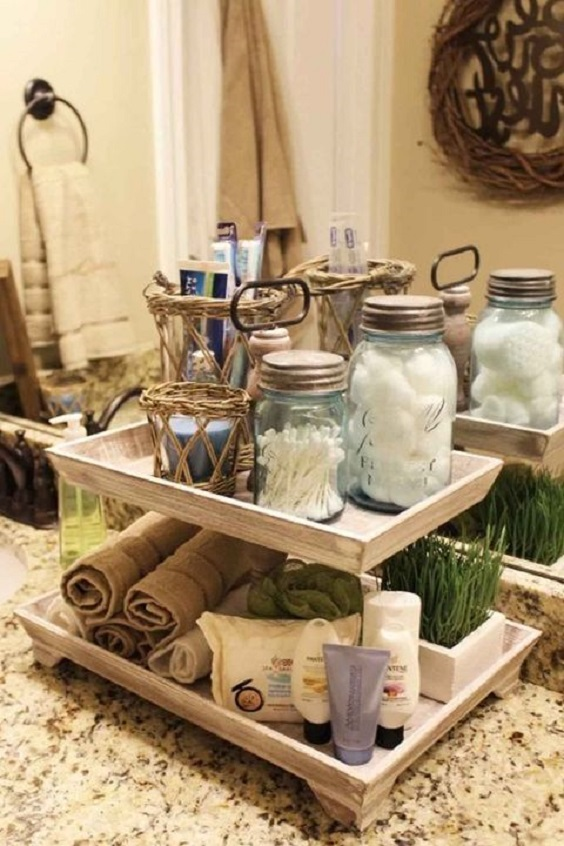 Bathroom Organization Ideas: Glass Bottle for Cotton Buds