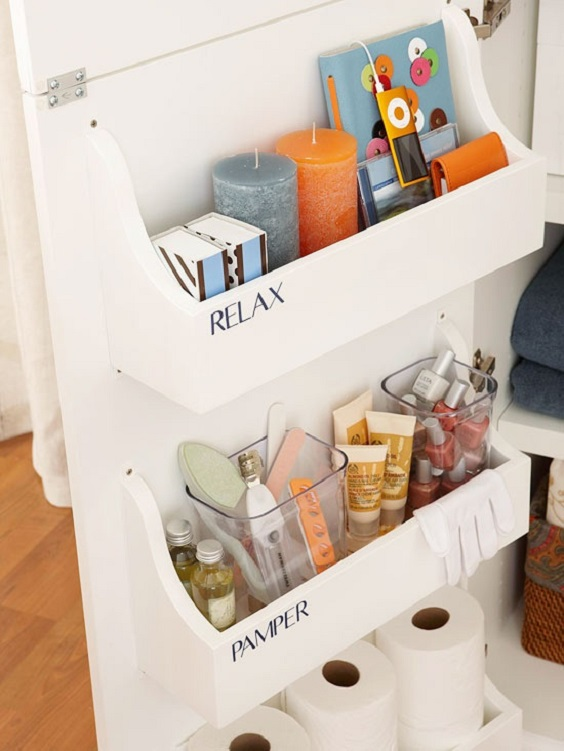 Bathroom Organization Ideas: Put Label for Each Shelf