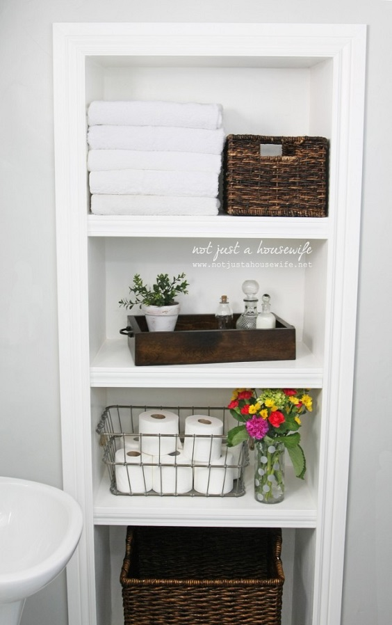 Bathroom Organization Ideas: Simple White Shelves