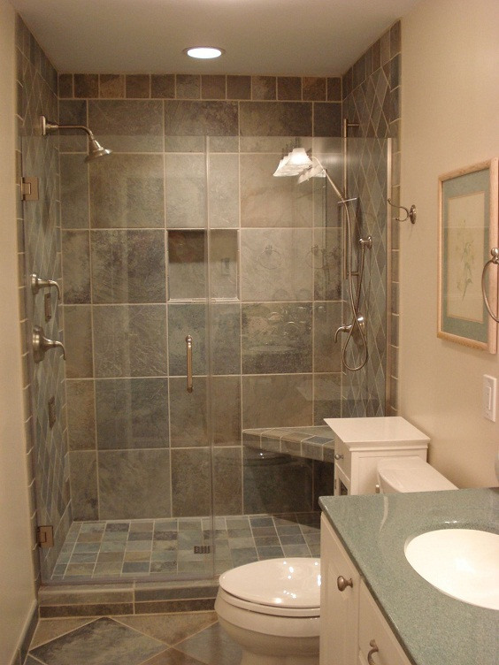 Bathroom Remodel Ideas: Different Sizes of Marble Tiles for the Wall