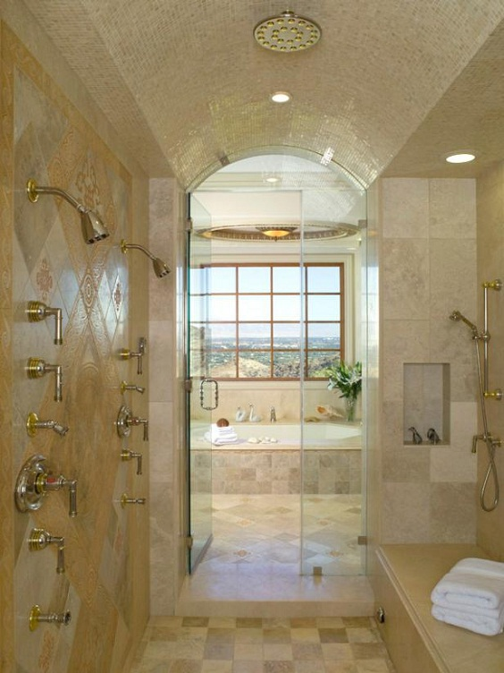 Bathroom Remodel Ideas: Classic Look with Brown Marble Tiles