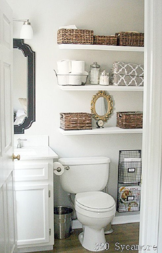 Bathroom Shelves Ideas: Simple White Shelves with Brown Baskets