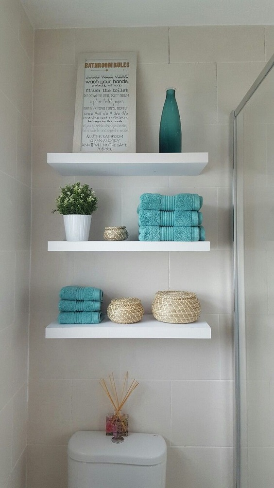 Bathroom Shelves Ideas: Three White Shelves Above the Toilet