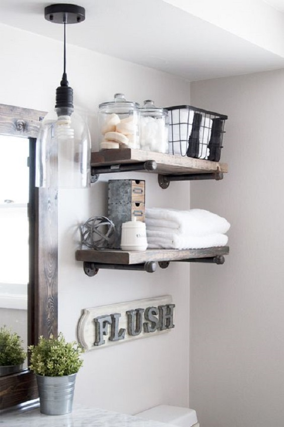Bathroom Shelves Ideas: Combination of Metal and Wood