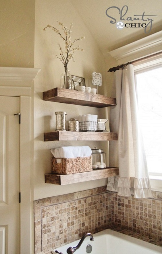 Bathroom Shelves Ideas: Simple Hardwood Shelves