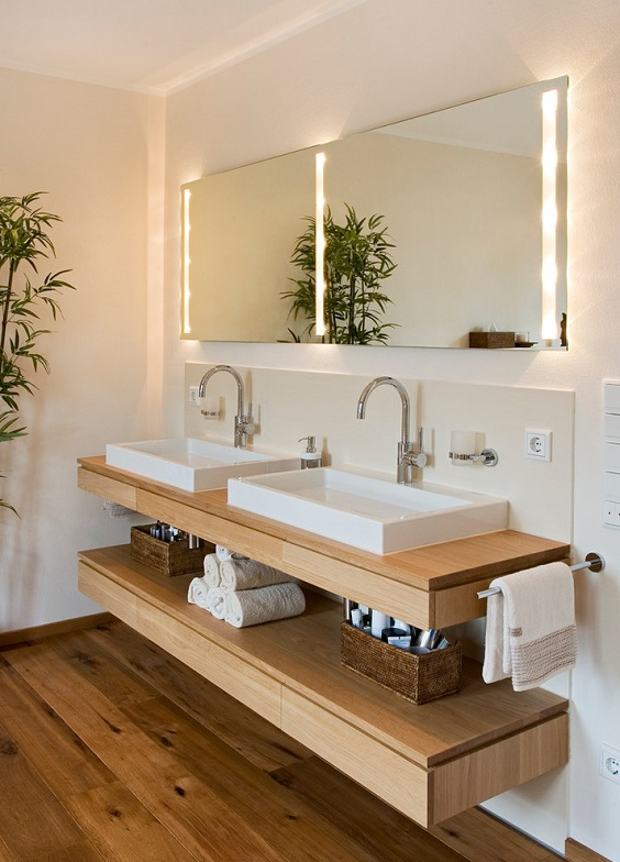 Bathroom Vanity Ideas: Shelves Made of Wood