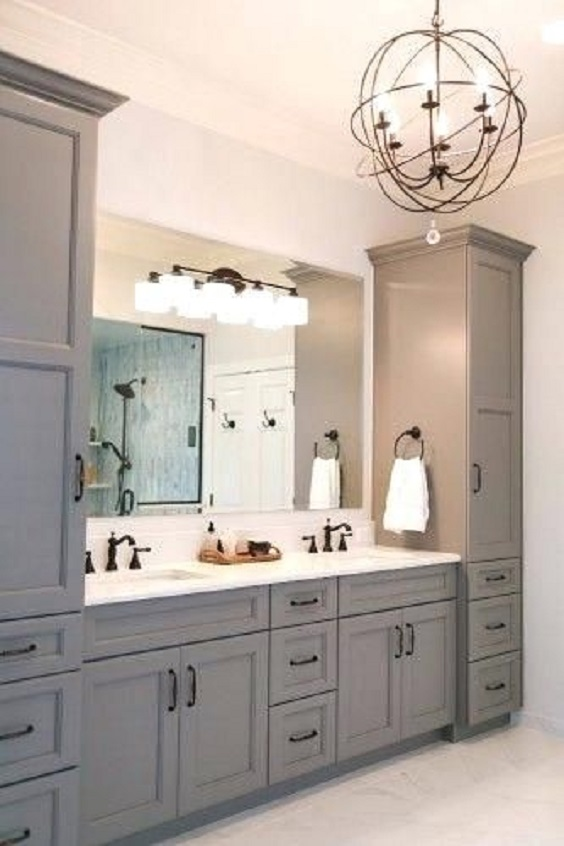 Bathroom Vanity Ideas: Grey and White Tone