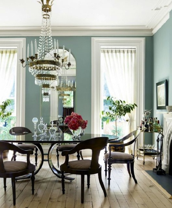 Dining Room Color Ideas: Light Soft Green Paint