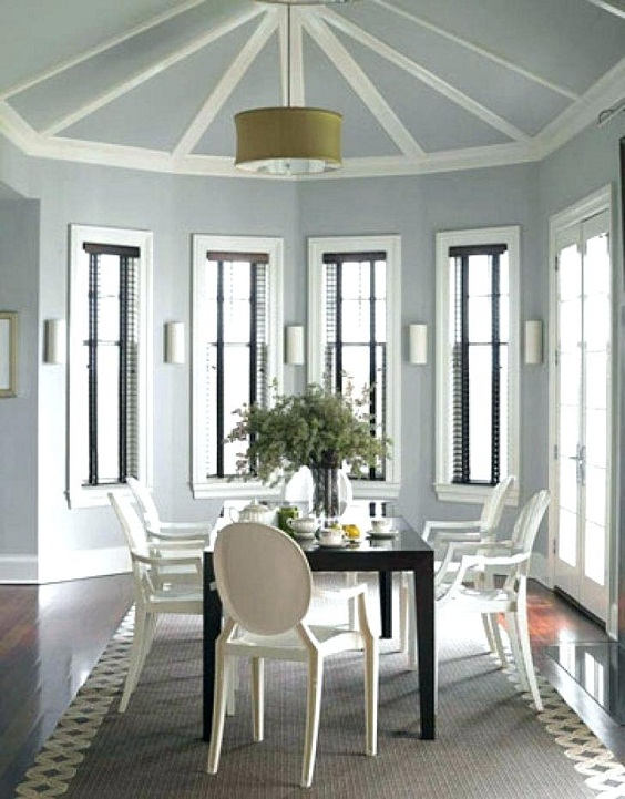 Dining Room Color Ideas: Split Color of Light Grey and White