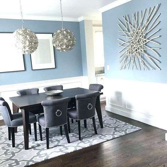 Dining Room Color Ideas: Light Blue Paint Color and Dark Wood Floor