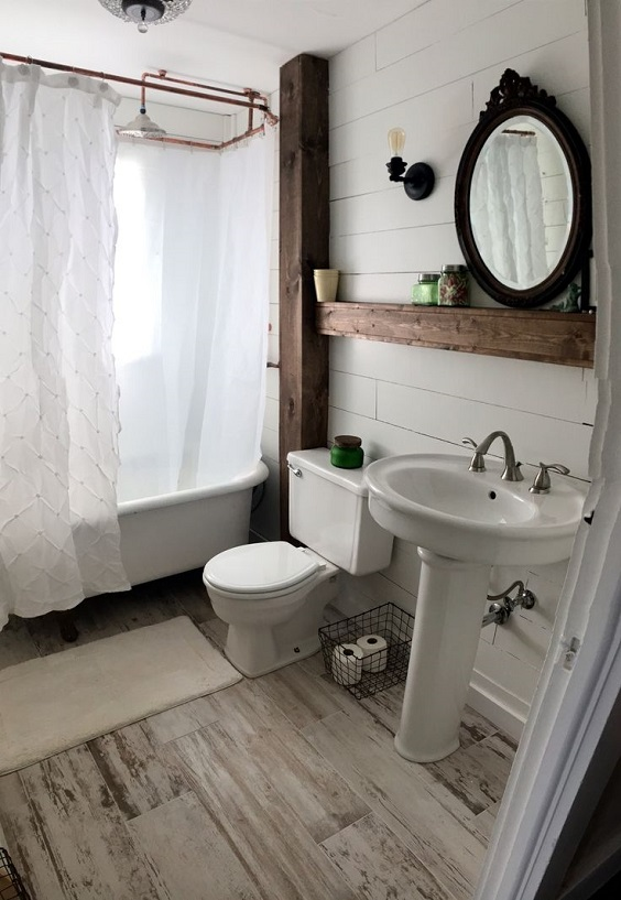Farmhouse Bathroom Ideas: Big Long Wood for Partition and Shelf