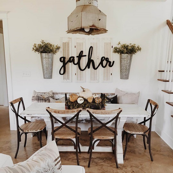 Farmhouse Dining Room Ideas: Rustic Wood Chairs