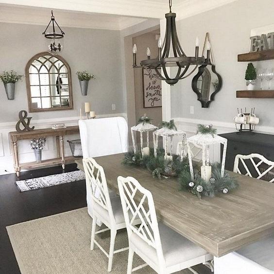 Farmhouse Dining Room Ideas: Dark Wood Table