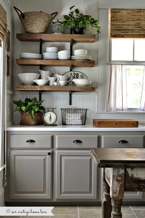 Kitchen Cabinet Ideas: Combination of Cabinets and Racks