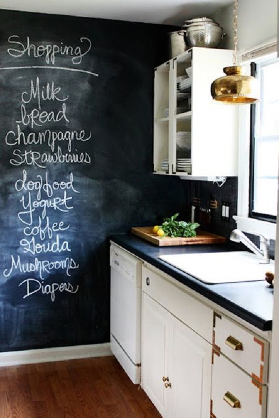 Apartment Kitchen Ideas: Kitchen with Chalkboard Wall