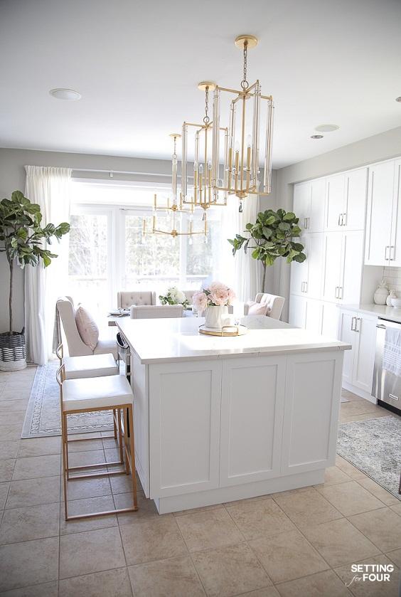 Kitchen Decor Ideas: Medium Plants in the White Kitchen