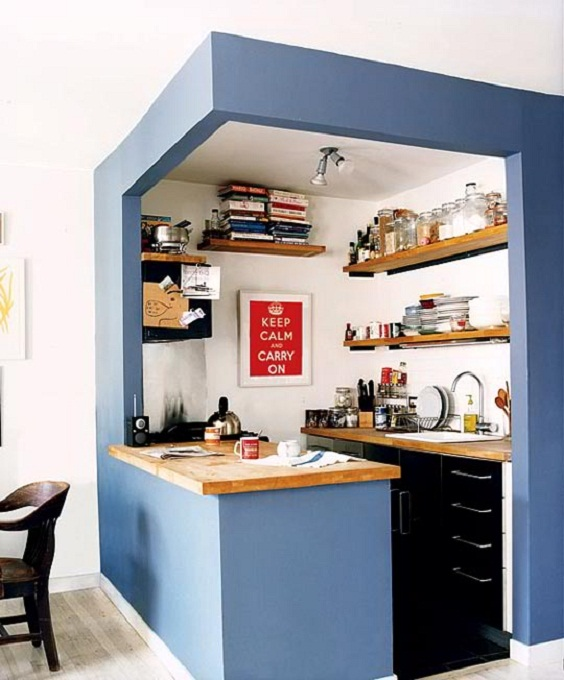 Small Kitchen Ideas: Small Kitchen in a Blue Paint