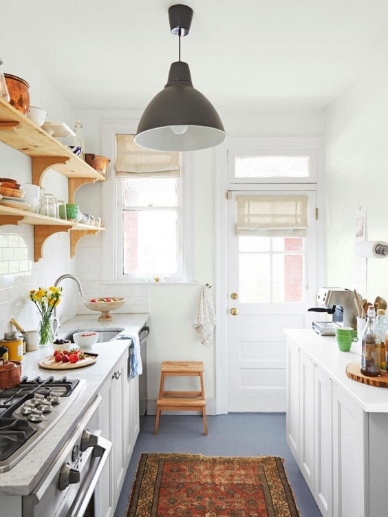 Small Kitchen Ideas: Two Long Wood Shelves