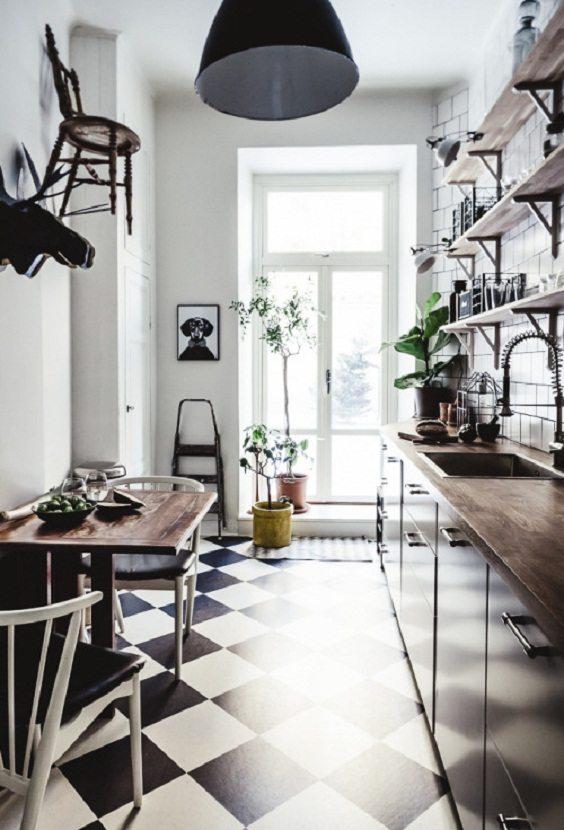 Small Kitchen Ideas: Black and White Ceramic Floor