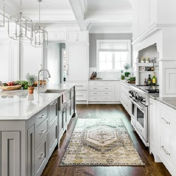 White Kitchen Ideas: Dark Wood Floor