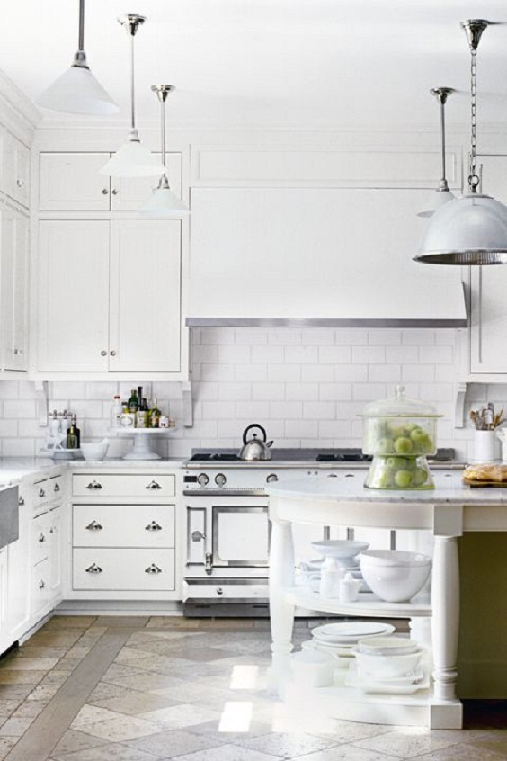 White Kitchen Ideas: Add Big Hanging Lamps