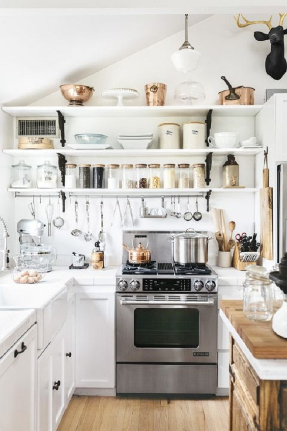 White Kitchen Ideas: Three White Shelves