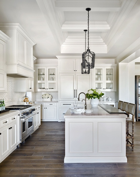 White Kitchen Ideas: Combination of Sink and Dining Table