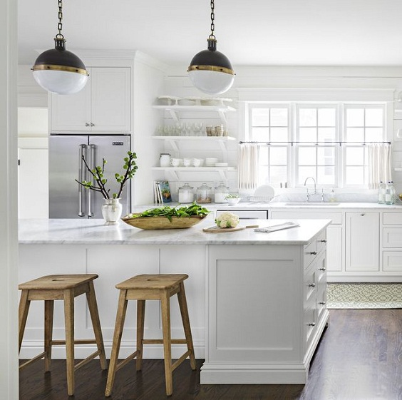 White Kitchen Ideas: White and Black Hanging Lamps