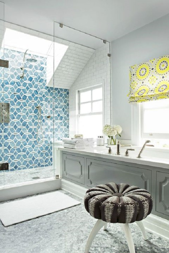 Master Bathroom Ideas: Blue and Yellow Tone