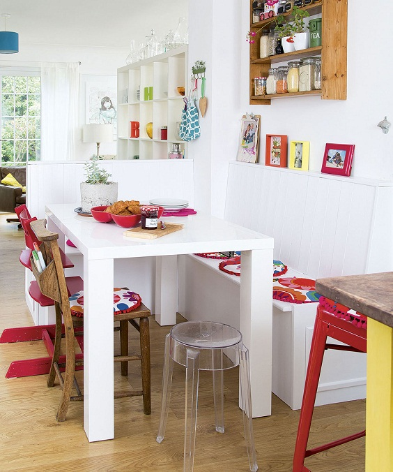 Small Dining Room Ideas: Small Tall Table with Bench