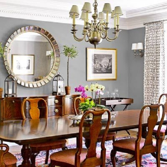 Traditional Dining Room Ideas: Big Circle Mirror
