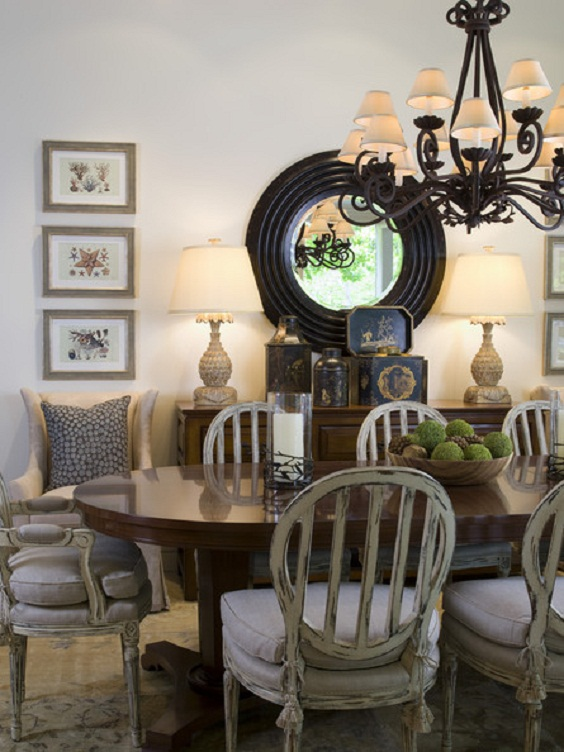 Traditional Dining Room Ideas: Rounded Dining Table with Rustic Chairs