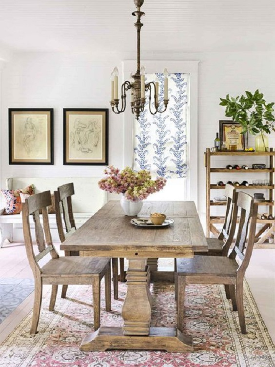 Dining Room Table Ideas: Rustic Dark Wood