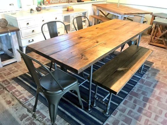 Dining Room Table Ideas: Wood and Metal Combination