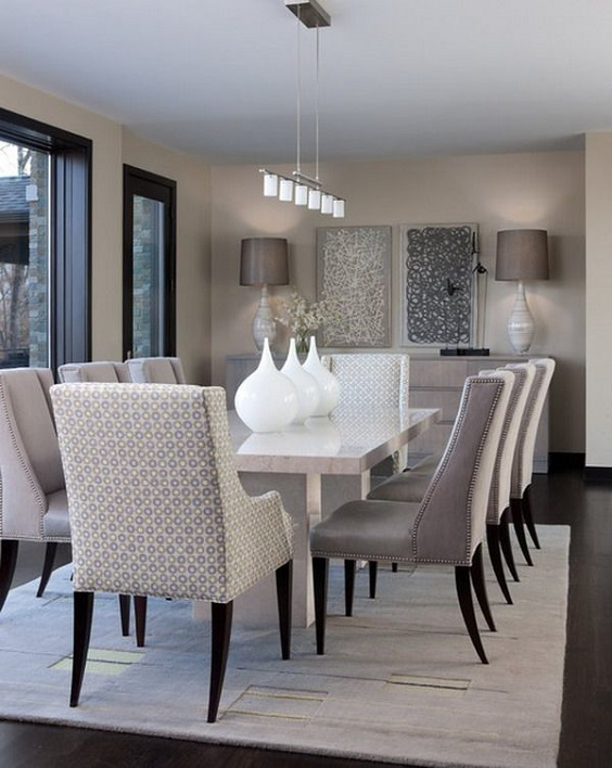 Modern Dining Room Ideas: Grey and White Color Scheme