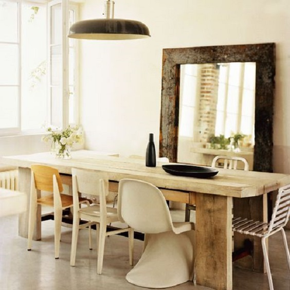 Rustic Dining Room Ideas: Cream Color Scheme