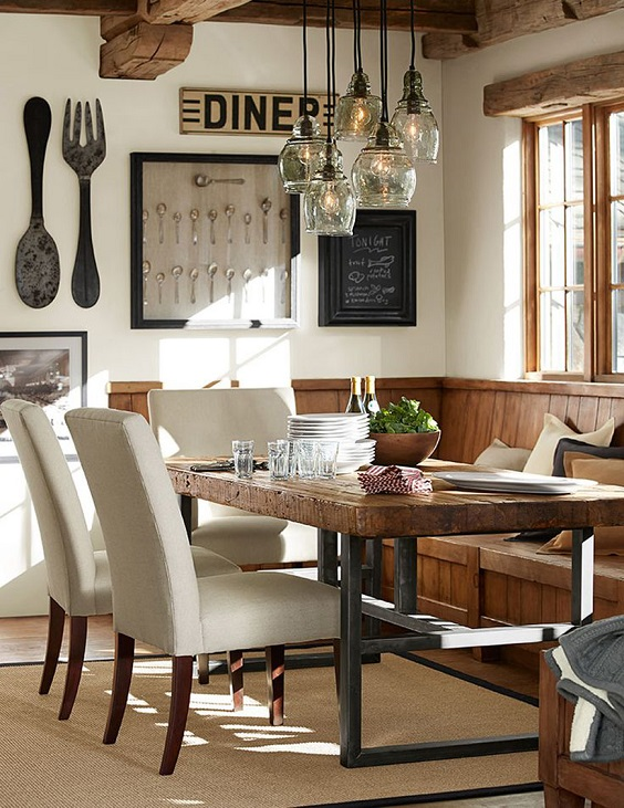 Rustic Dining Room Ideas: Brown and Black Color Scheme