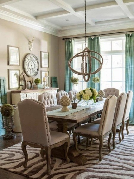 Rustic Dining Room Ideas: Soft Brown Color Scheme