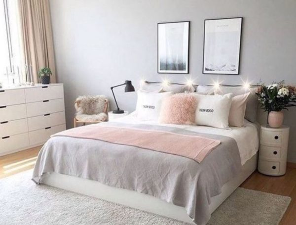 white bedroom feature