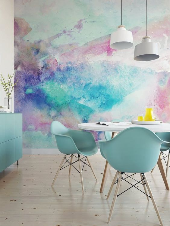 Dining Room Wallpaper: Chic Colorful Decor