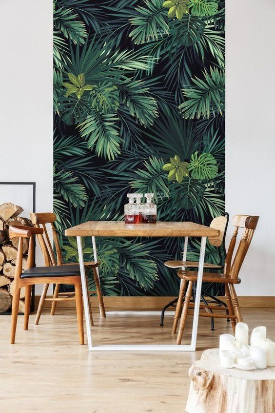 Dining Room Wallpaper: Chic Earthy Decor