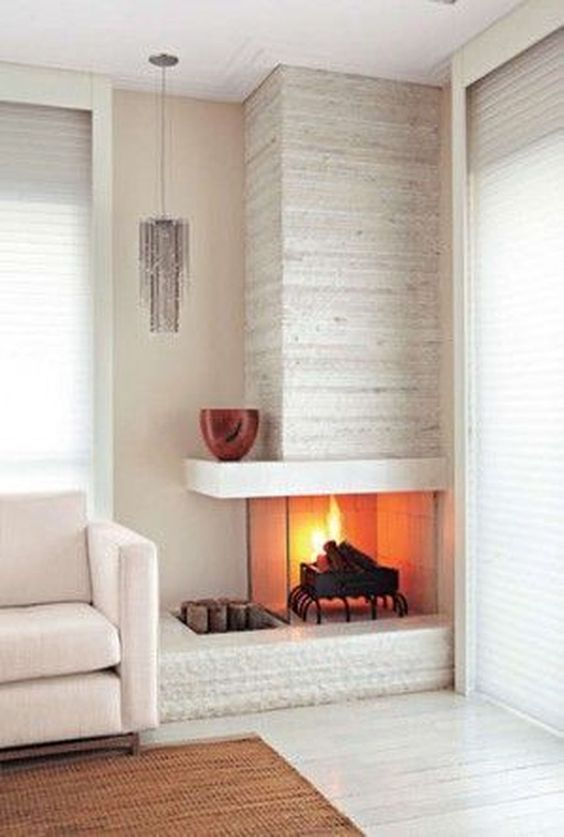 Living Room with Fireplace: Stylish Corner Design