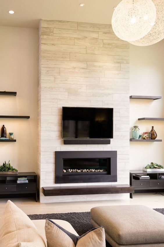 Living Room with Fireplace: Elegant Minimalist Design