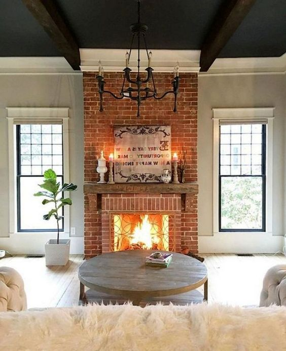 Living Room with Fireplace: Stunning Rustic Design