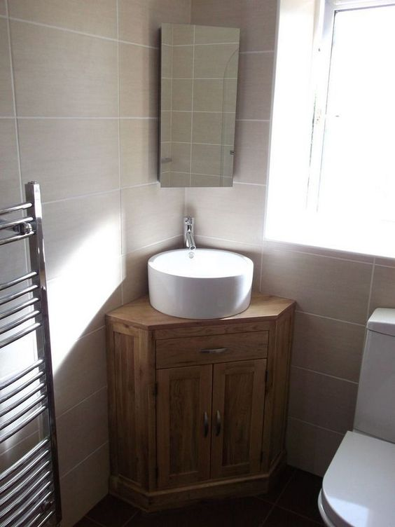 Small Bathroom Vanity: Rustic Corner Vanity