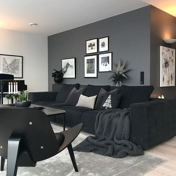 Black Living Room: Modern Neutral Decor